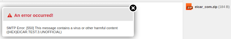 Грешка при изпращане на прикачен компресиран файл