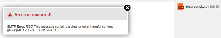 Грешка при изпращане на прикачен компресиран архив