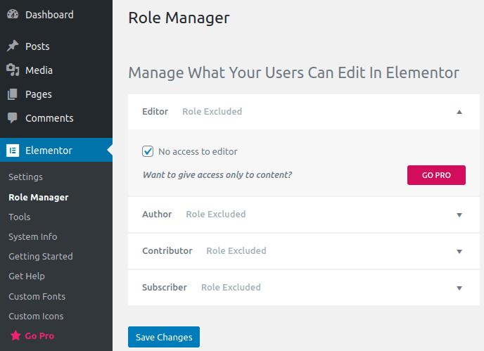 Настройки в панела Role Manager