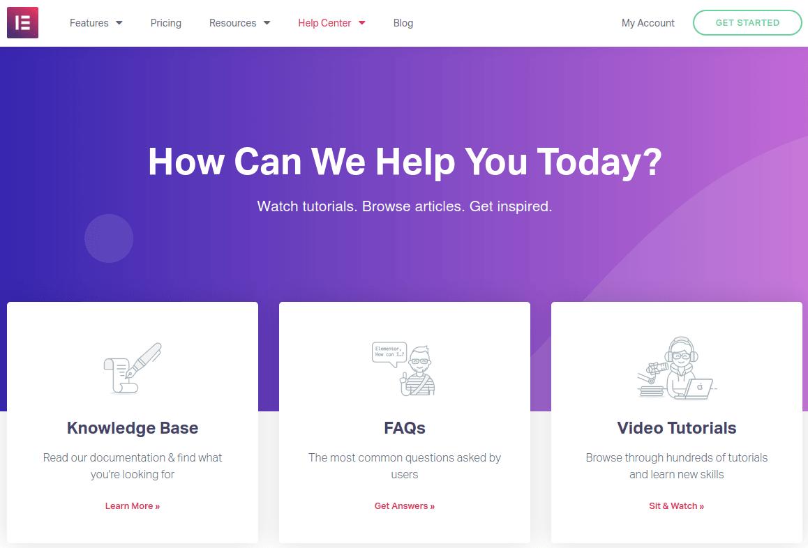 Помощна страница на сайта elementor.com