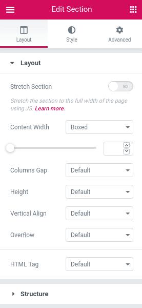 Панел Edit Section - раздел Layout