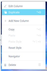 Линк Duplicate в менюто Edit Column