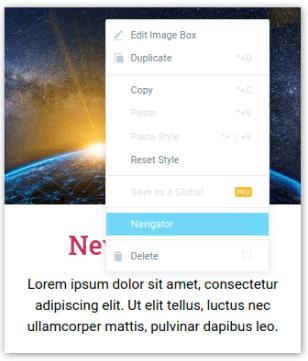 Линк Navigator в меню