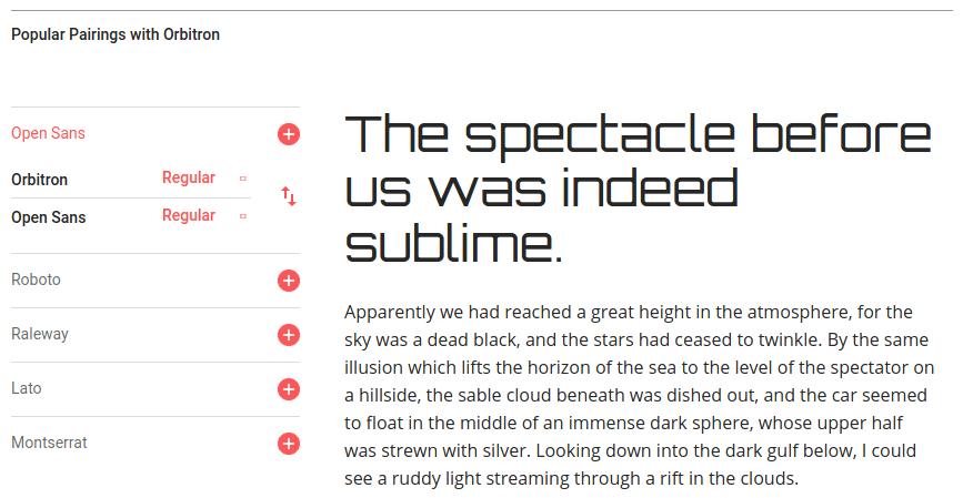 Спецификация на шрифт Orbitron в Google Fonts