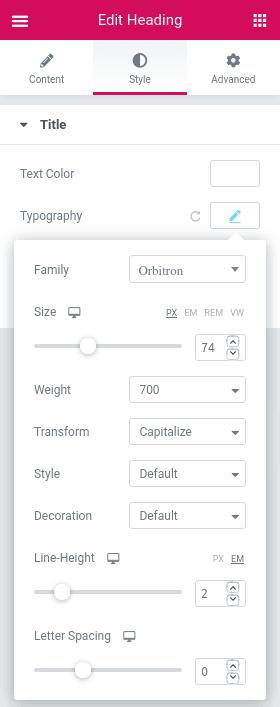 Настройки на шрифт в раздел Style