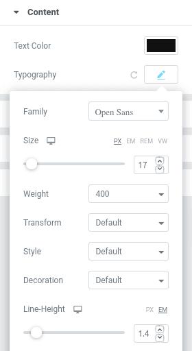 Настройки на шрифт в панела Style Content