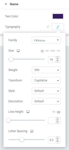 Форматиране на име в панел Style Name