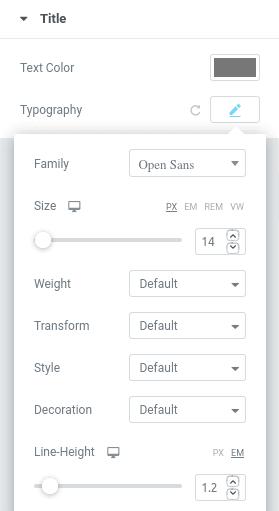 Форматиране на текст в панела Style Title