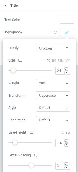 Настройки на шрифт в панела Edit Heading Style