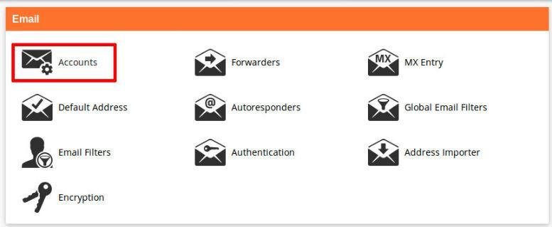 cPanel секция Email линк към Accounts
