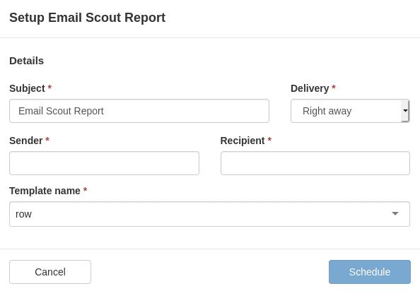 Начален изглед на прозореца Setup Email Scout Report