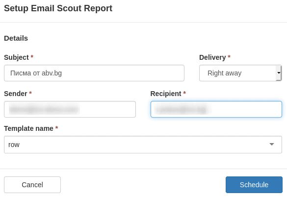 Попълване на полетата в Setup Email Scout Report