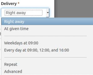 Опции в меню Delivery