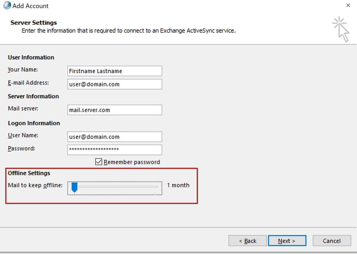 Настройка offline settings в Outlook 2016