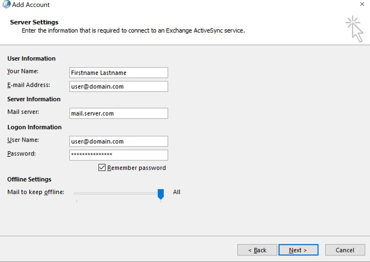 Въвеждане на данни за мейл сървъра и акаунта