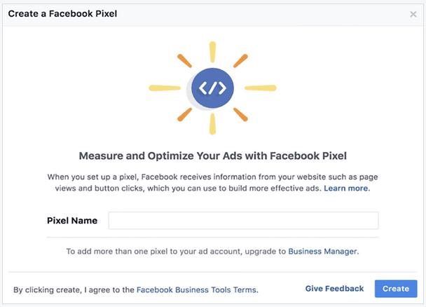 Поле за въвеждане име на Facebook pixel