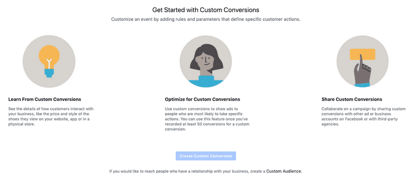 Бутон Create custom conversion