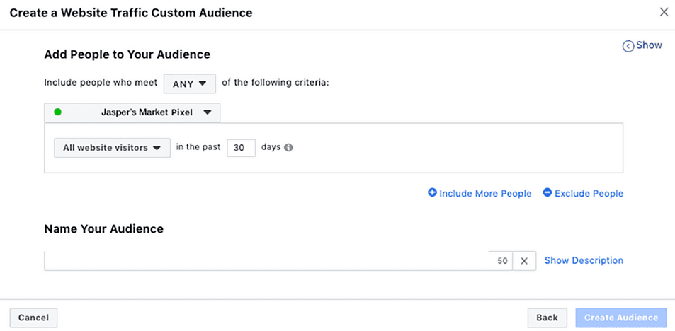 Изглед на панел за създаване на персонализирана аудитория