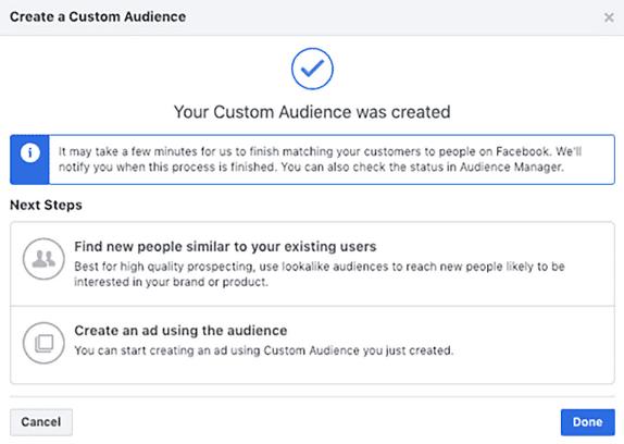 Потвърждение за успешно създадена аудитория