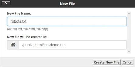 Създаване на нов файл robots.txt