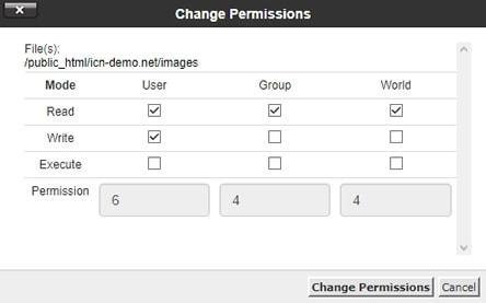 Промяна правата на директория images