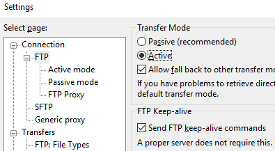 FileZilla настройване на active mode