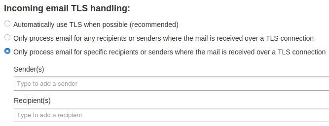 Полета за подател/получател за TLS връзка при входяща поща