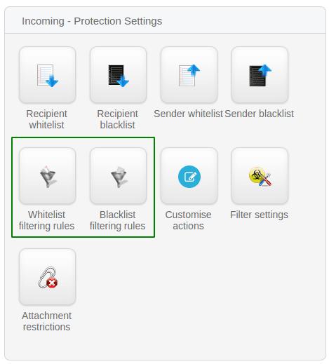 Достъп до filtering rules от таблото