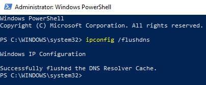 ipconfig /flushdns в PowerShell