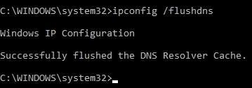 ipconfig /flushdns в Command Prompt