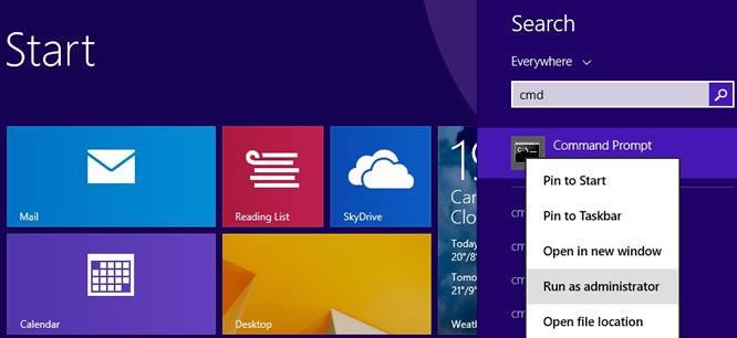 Достъп до Command Prompt в Windows 8