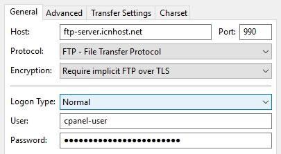 В меню Encryption избираме Require implicit FTP over TLS