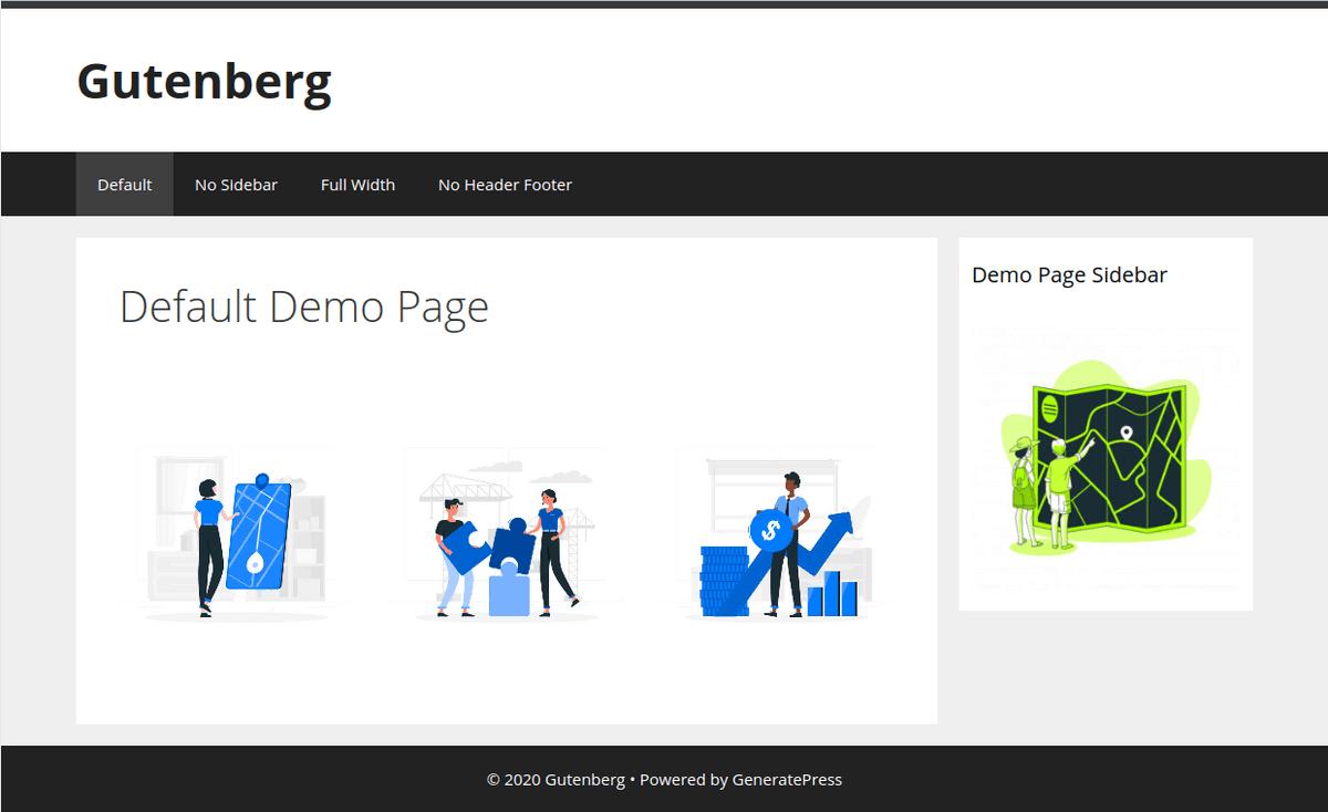 Изглед на страница с Default template в браузър