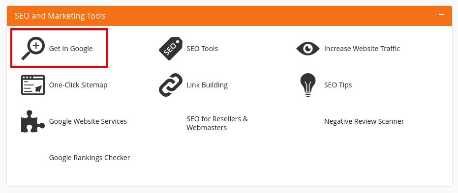 Достъп до секция SEO and marketing tools в cPanel