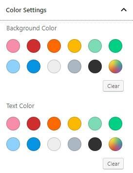 gutenberg настройки на цветовете