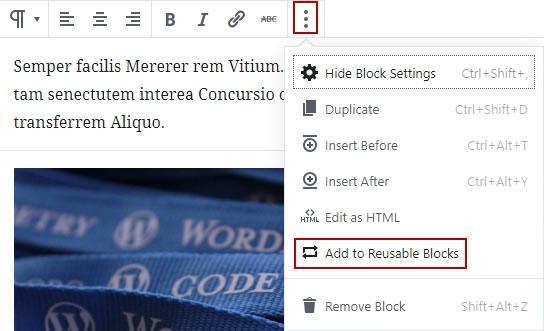 gutenberg добавяне към блокове за многократна употреба