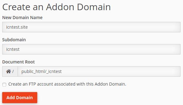 Конфигуриране на допълнителен (addon) домейн