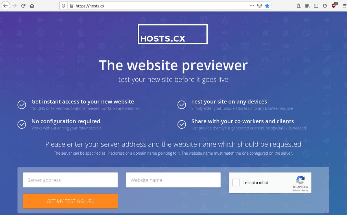 Изглед на сайта hosts.cx