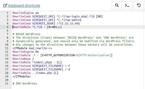 Добавяне на код в .htaccess през файловия мениджър