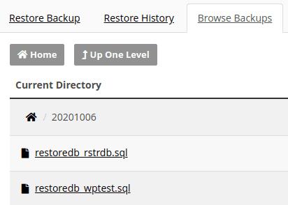 Списък с архивите на базите данни