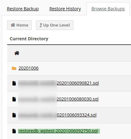 Списък с възстановените бази данни като SQL файл