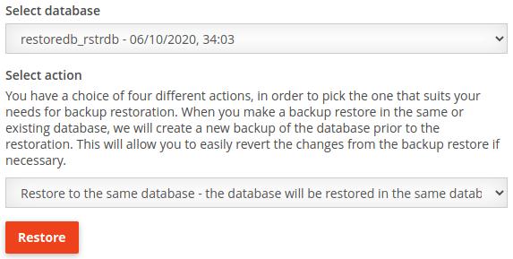 Настройки за възстановяване в същата база данни