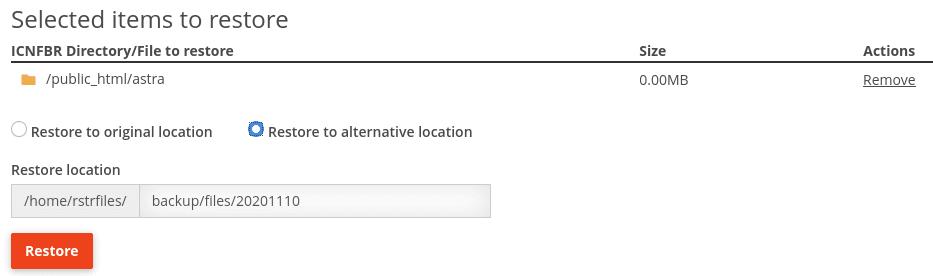 Възстановяване на архив в директорията на потребителя