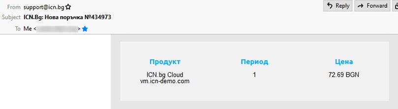 Съобщение в имейл за успешно създаден cloud сървър