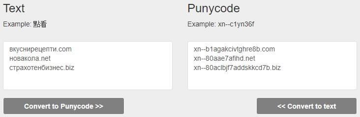 Изглед на Punycode конвертор