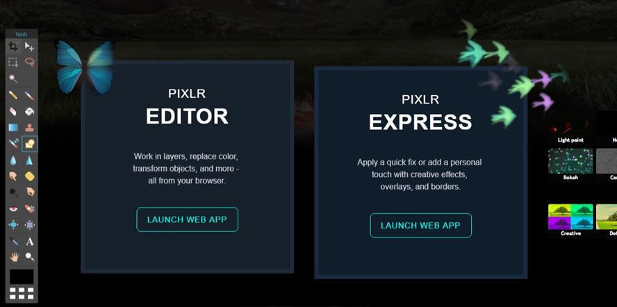 Pixlr Editor стартиране на програмата