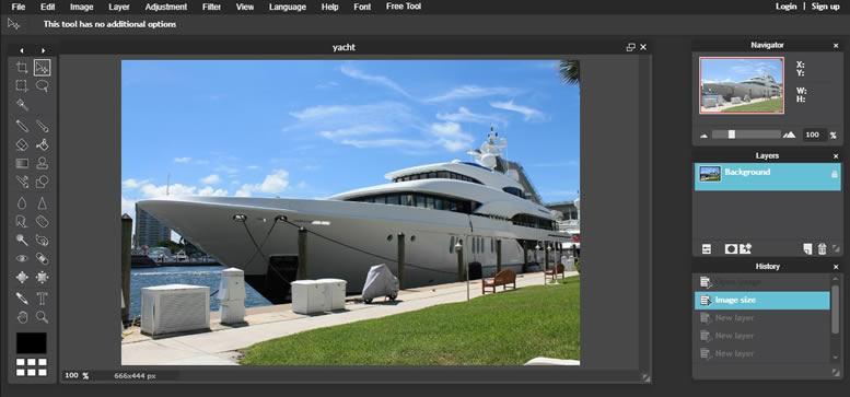 Pixlr Editor главен интерфейс