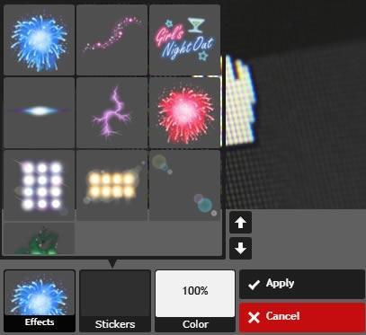 Pixlr Express настройки за управление на стикерите
