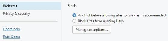 Добавяне на изключение за Adobe Flash в Opera