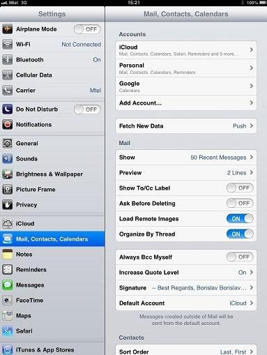 ipad mail account